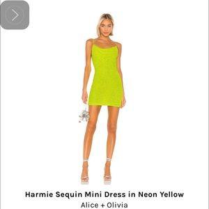 Alice and Olivia Neon sequin mini dress neon sz 4